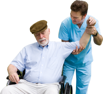 elderly man with an caregiver